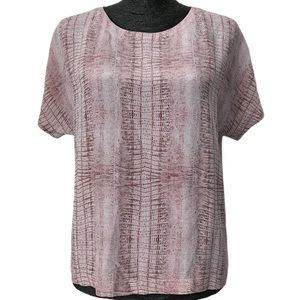 See By Chloe pink reptile print silk blouse size 6